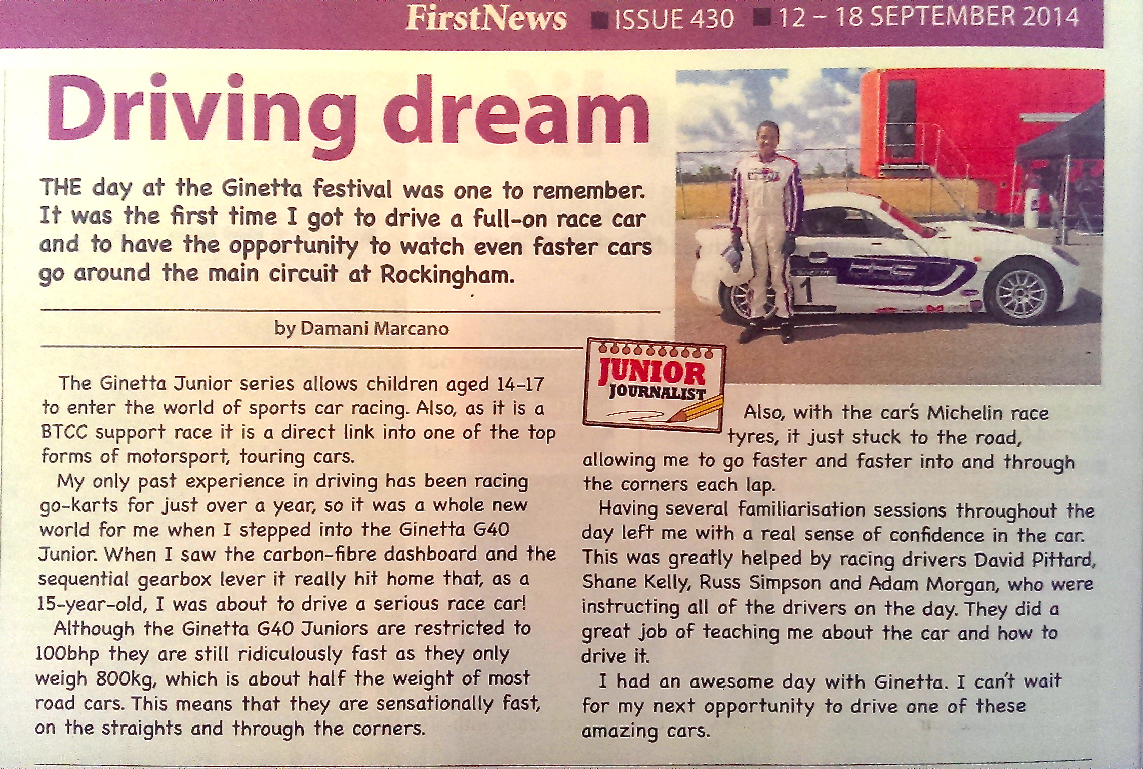 Damani Marcano - Ginetta Experience - First News - Newspaper Article September 2014